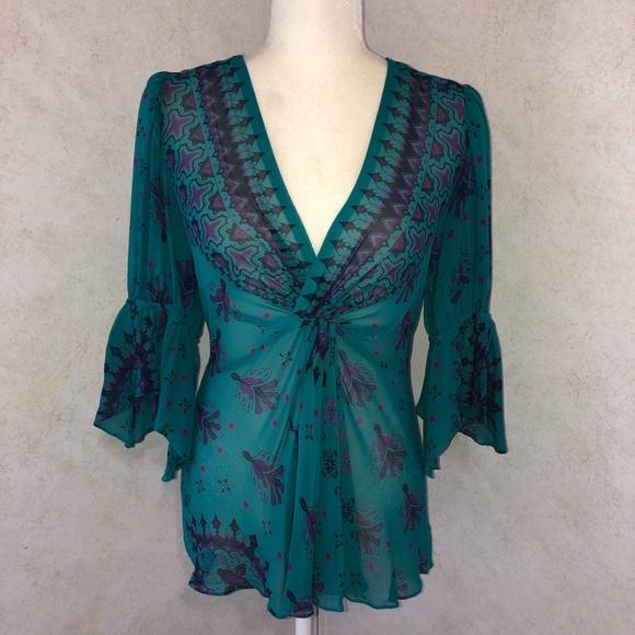 Nanette Lepore Tops - Nanette Lepore 100% Silk Bell Sleeve Blouse 6